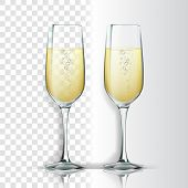 Realistic Glass With Sparkling Champagne Vector. Champagne Is White Wine Product. Crystal Luxury Ele poster