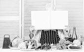 Book Recipes Copy Space. Man Chef In Hat And Apron Read Book. Culinary Recipes Book Concept. Improve poster