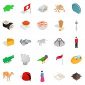 European Place Icons Set. Isometric Set Of 25 European Place Icons For Web Isolated On White Backgro poster