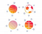 Sport Balls Icons. Volleyball, Basketball, Soccer And Golf Signs. Team Sport Games. Random Dynamic S poster