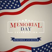 Memorial Day Background With Us National Flag, Stars And Stripes. Template For Memorial Day Invitati poster