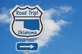 Oklahoma Road Trip Highway Sign, Oklahoma Map And Text Road Trip On A Highway Sign With Sky Backgrou poster
