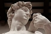 Replica of David statue of Michelangelo in Florence, Italy. Architecture and landmark of Florence. P poster