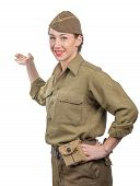 A Young Woman Dressed In American Ww2 Military Uniform Showing Empty Blank Signboard poster