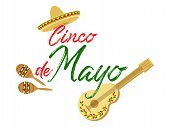 Cinco De Mayo Calligraphy Lettering Text With Sombrero, Guitar And Maracas - Symbols Of Holiday. May poster