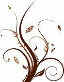 picture of floral design  - Abstract floral design with flowing line in shades of brown - JPG