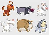 Cartoon Dogs Set. Retriever, Dachshund, Terrier,pitbull, Spaniel, Bulldog, Basset Hound, Afghan Houn poster