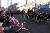 LONDON- FEB 7: Crowds of unidentified people welcome the kings troop royal horse artillery to the to