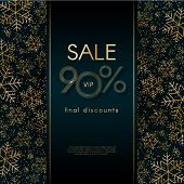 Sale 90% Final Discounts Vip Offer Christmas New Year Luxury Banner With Pattern Of Gold Luxury Snow poster