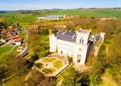 Chyse Chateau is an ancient place, the history of which begins in the 12th century. Aerial view to a poster