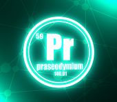 Praseodymium Chemical Element. Sign With Atomic Number And Atomic Weight. Chemical Element Of Period poster