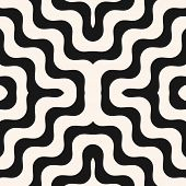Vector Geometric Seamless Pattern With Wavy Lines, Stripes, Curved Shapes. Stylish Abstract Black An poster