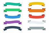 Vector Ribbons In Flat Colors. Vector Banners Ribbons. Set Of 10 Ribbons poster