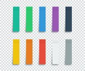 Colorful Stickers Set Isolated On Transparent Background. Stickers. Paper Stickers Tape With Shadow. poster