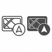 Tablet Navigator Line And Glyph Icon. Gps Vector Illustration Isolated On White. Tablet With Navigat poster