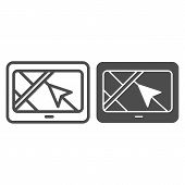 Tablet With Navigation Arrow Line And Glyph Icon. Gps App Vector Illustration Isolated On White. Tab poster