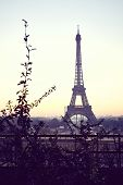 Early Morning View Of Eiffel Tower From Trocadero With Winter Sunrise Colors poster