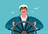 Sailor At The Helm Of The Ship. Sailing, Cruise Vector Illustration poster