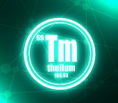 Thulium Chemical Element. Sign With Atomic Number And Atomic Weight. Chemical Element Of Periodic Ta poster