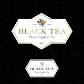 Black Tea Logo And Seamless Pattern. Label For Elite Tea. The Leaves And Letters In A Classic Style  poster