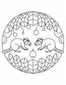 Raccoons Pattern. Illustration Of Raccoons. Mandala With An Animal.  Raccoons In A Circular Frame. C poster