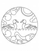 Ducks Pattern. Illustration Of Duck. Mandala With An Animal.  Duck In A Circular Frame. Coloring Pag poster