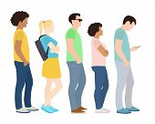 Queue Of People. Waiting Women And Men Standing In Line. Queue Wait Woman And Man. Vector Illustrati poster