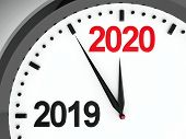 Black Clock With 2019-2020 Change Represents Coming New Year 2020, Three-dimensional Rendering, 3d I poster