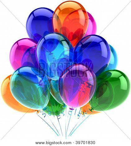 Balloons party happy birthday decoration colorful translucent