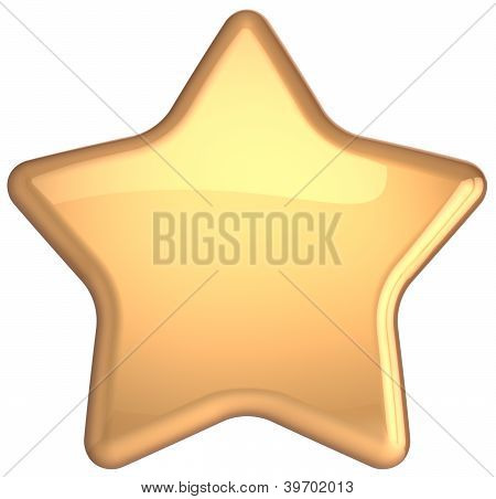 Gold star golden decoration. Prestige congratulation win