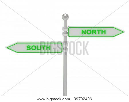 "Signs With Green ""souch"" And ""north"""