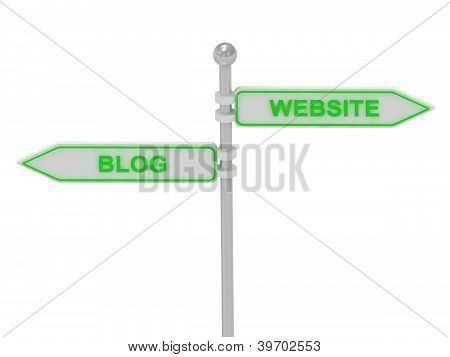 "Signs With Green ""blog"" And ""website"""