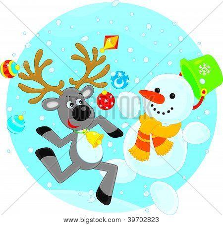 Reindeer and Snowman dancing