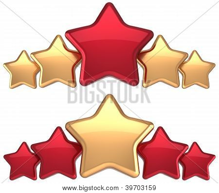 Five stars service gold red golden leadership award success decoration