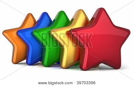 Five star 5 stars shape service award success decoration multicolor