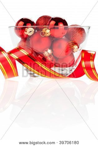 Set Of Red Christmas Balls In The Vase And Ribbon Isolated On White Background