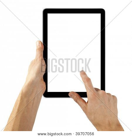 tablet computer isolated in a hand on the white backgrounds.  like ipade pc