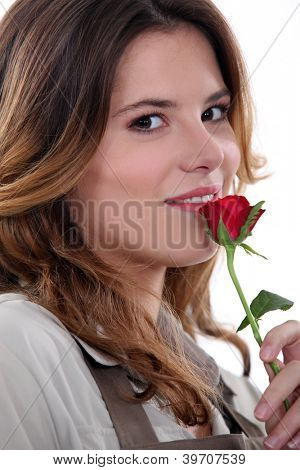 Woman stood with rose