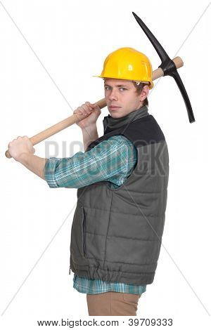 Angry tradesman with a pickaxe