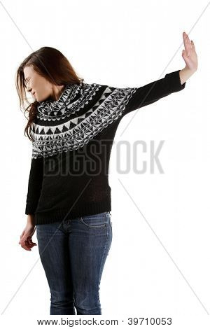 Scared woman making stop gesture sing with hand