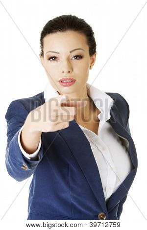 Young beautiful caucasian business woman pointing on you ,isolated on white