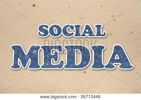 Handmade Insciption Social Media On Hand Made Paper