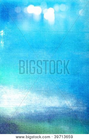 Abstract Textured Background: White And Green Patterns On Blue Sky-like Backdrop