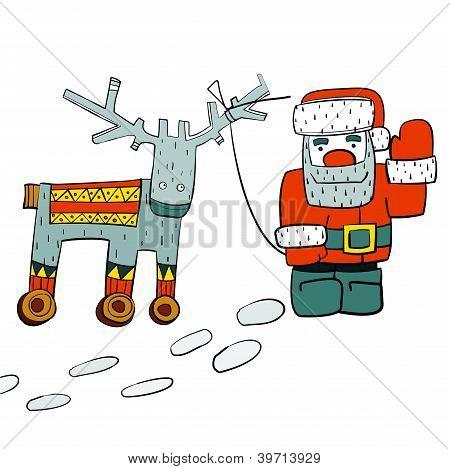 Humorous Santa and Reindeer on Wheels