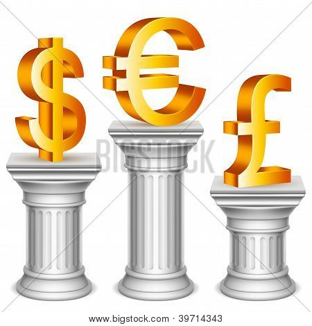 Currency symbols on sport podium.