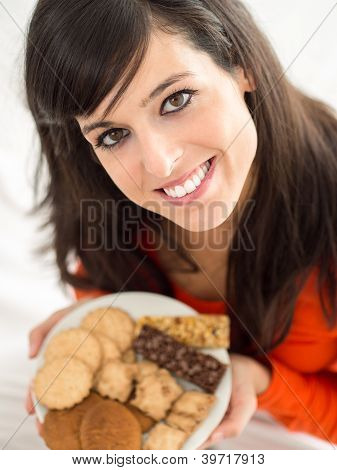 Woman With Delicious Biscuits