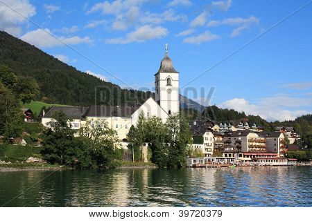 View of St Wolfgang from lake