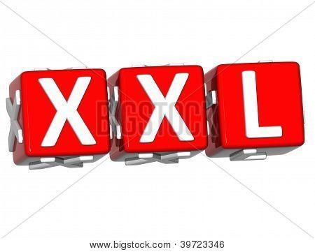 3D Xxl Button Click Here Block Text