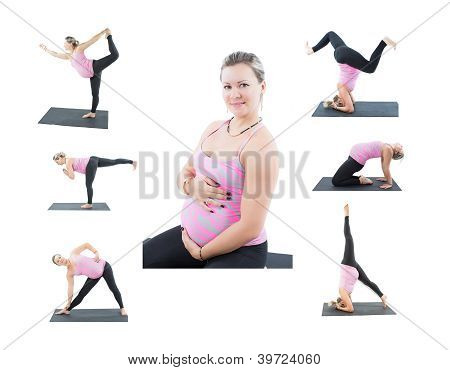 Collage Of Pregnant Fitness Woman Make Stretch On Yoga And Pilates Pose On White Background  The Con