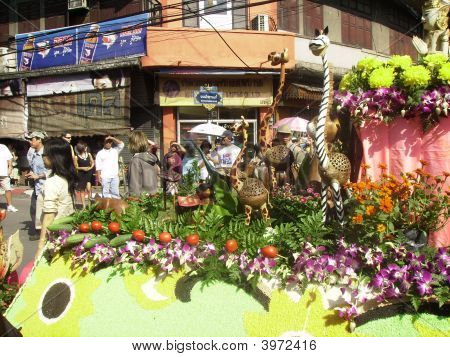 A Float Taking Part In The Annual Floral Festival On February 1, 2008 In Chiang Mai, Nth. Thailand.